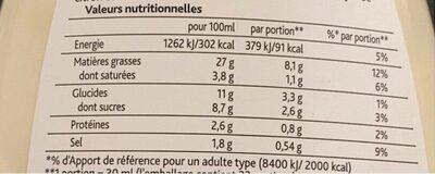 Amora Sauce caesar salade & sandwich bouteille 1L - Informations nutritionnelles - fr
