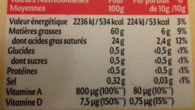 Planta fin doux tartine & cuisson - Voedigswaarden