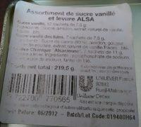 Levure et sucre Alsa, Dans boite métal - Ingrediënten - fr