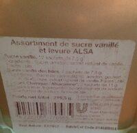 Levure et sucre Alsa, Dans boite métal - Voedingswaarden - fr
