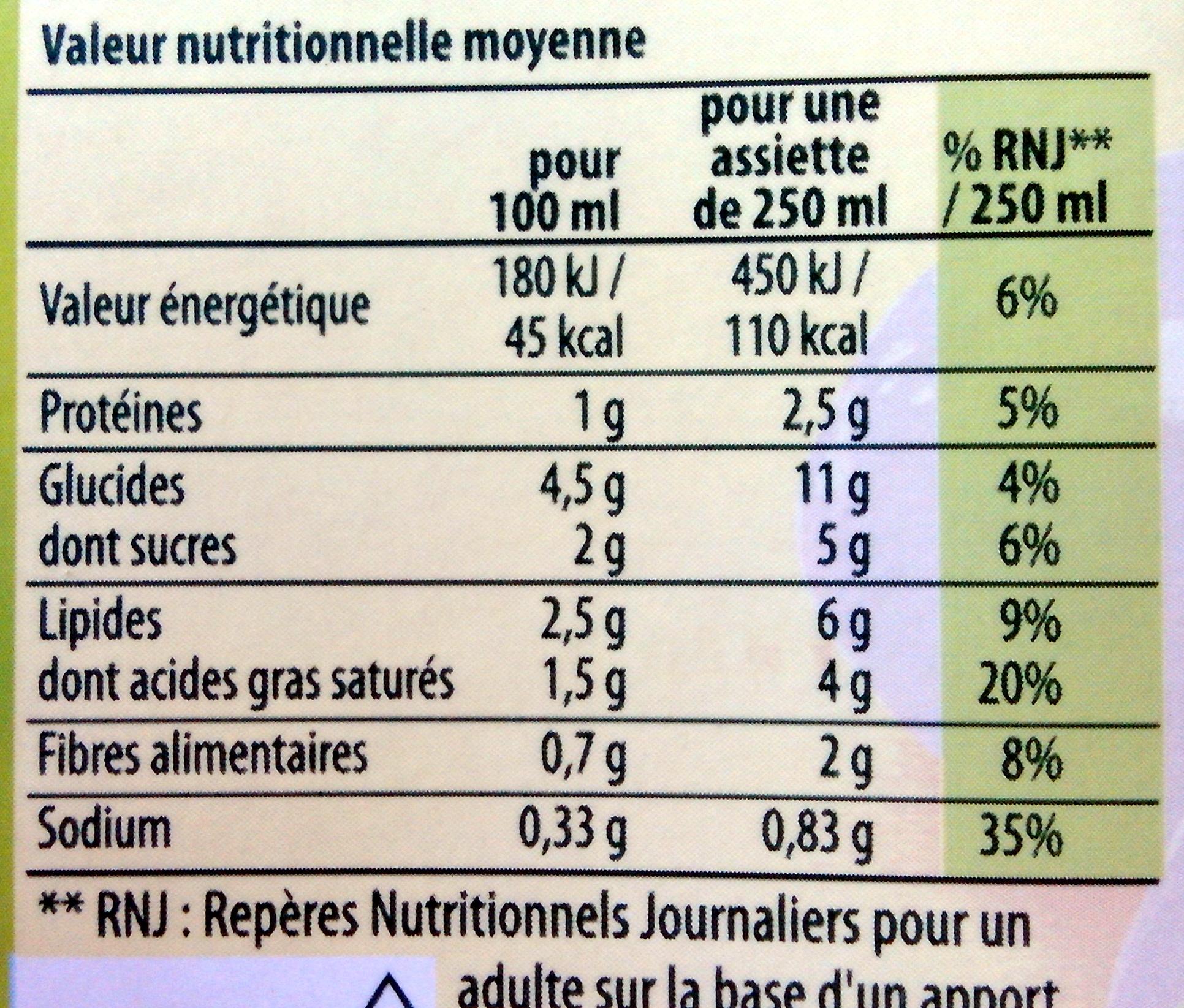 Knorr Les Classiques Soupe Liquide Douceur de Légumes du Soleil Brique 4 Portions - Nutrition facts - fr