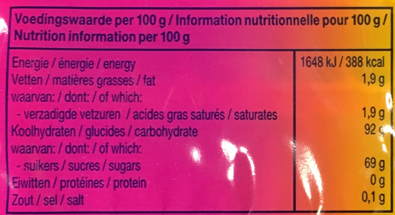 Mentos fruits - Informations nutritionnelles - fr
