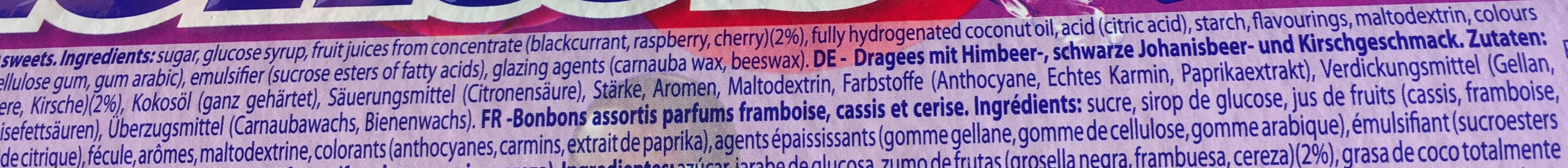 Mentos Berry Mix Jumbo Rolle 8er - Ingrediënten