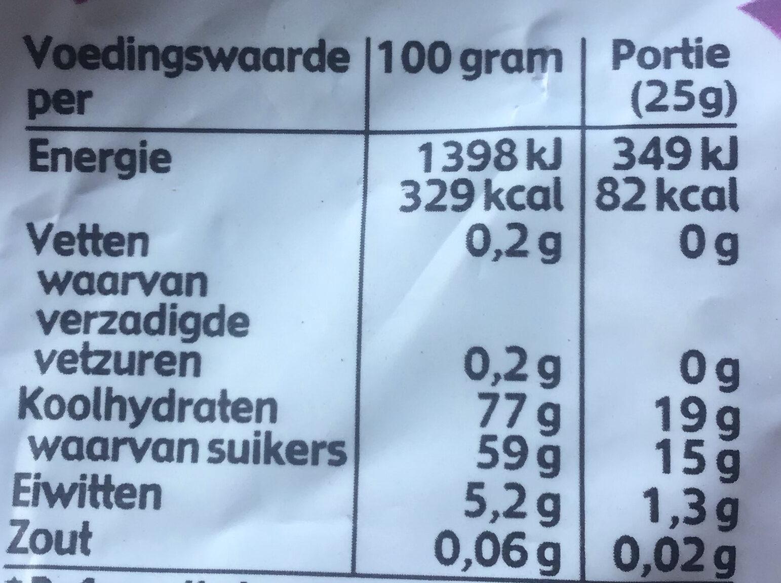 Luchtige zoete drop - Voedingswaarden - nl