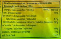 Mentos fruit mix bolsa 160g - Informations nutritionnelles - es