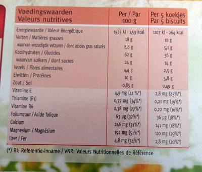Biscuits lait chocolats - Voedingswaarden - fr