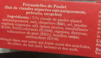 10 fricandelles de Volaille - Ingrediënten