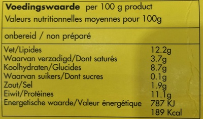 20 fricadelles surgelées - Informations nutritionnelles