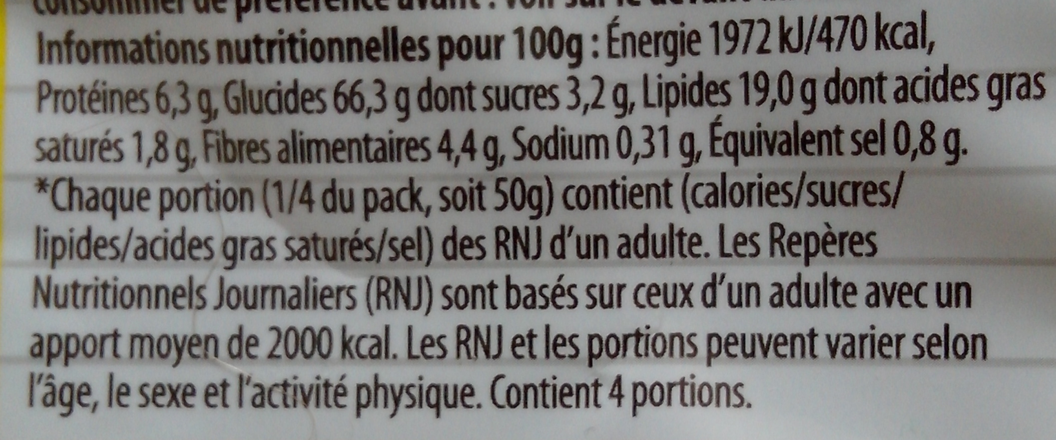 Tortilla chips chili - Informations nutritionnelles