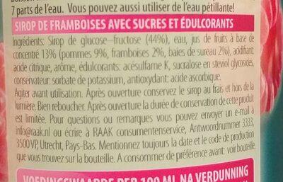 sirop de fruit framboise - Ingrédients - fr