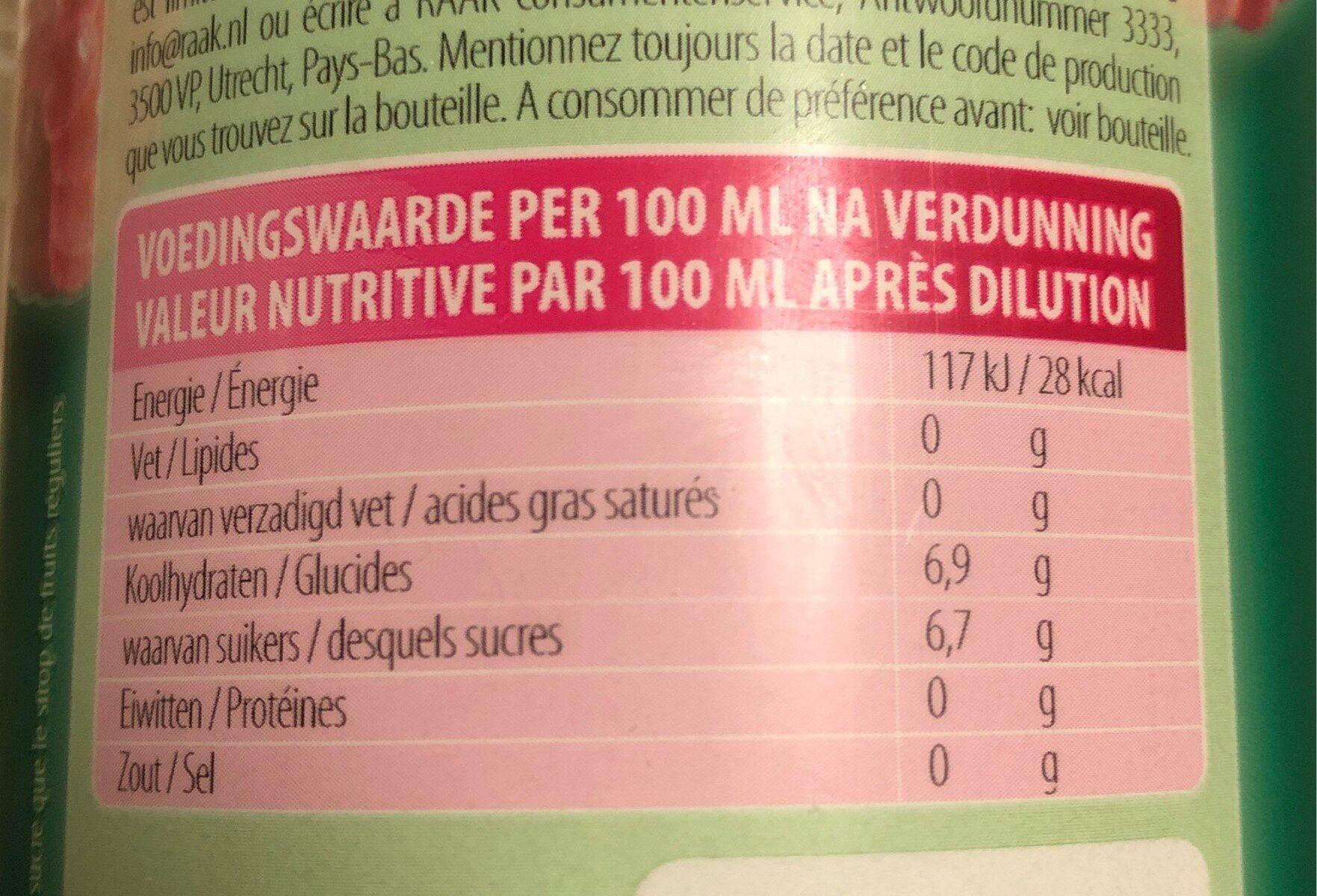 sirop de fruit framboise - Informations nutritionnelles - fr