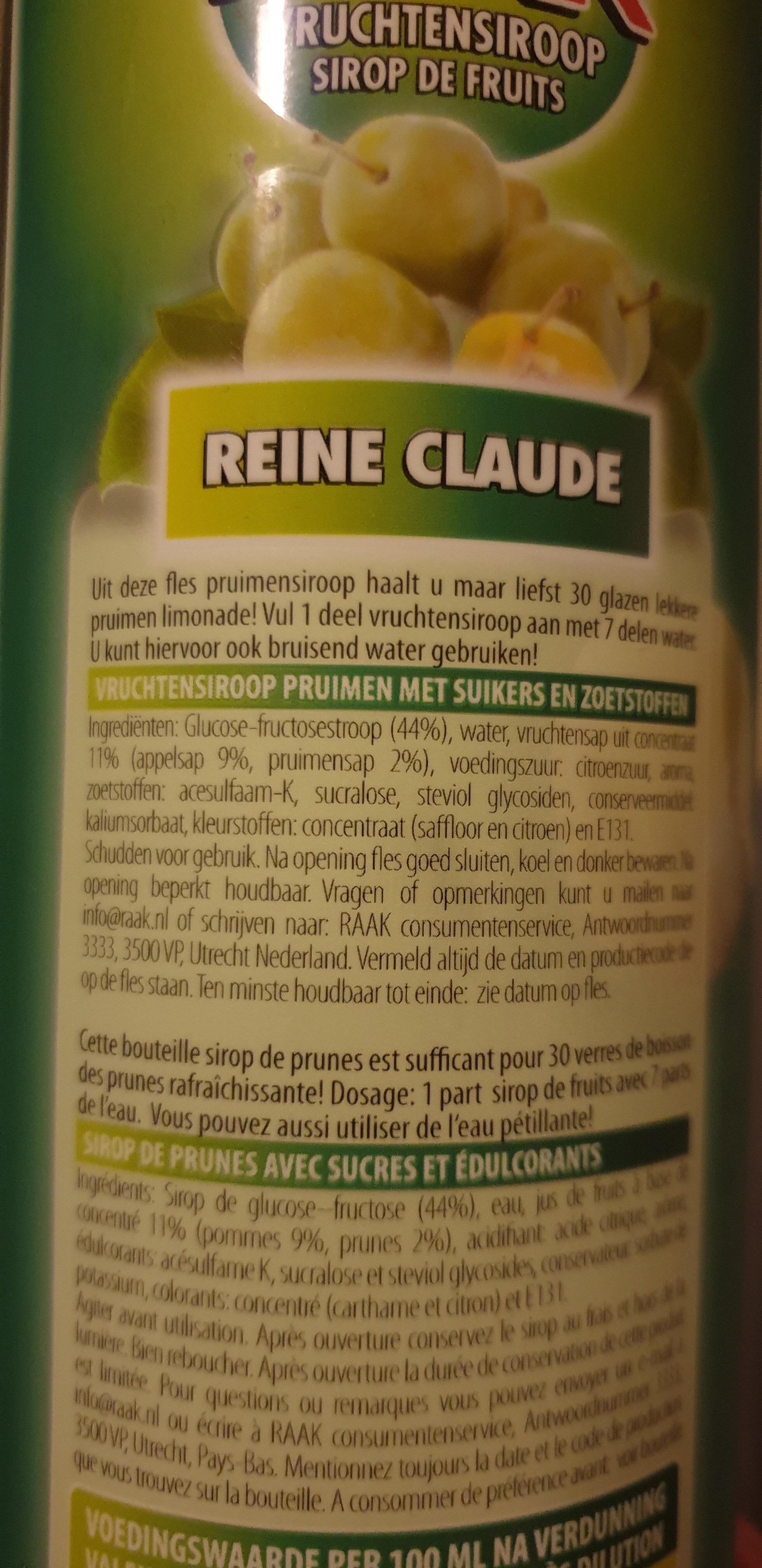 Raak Vruchtensiroop Reine Claude - Product
