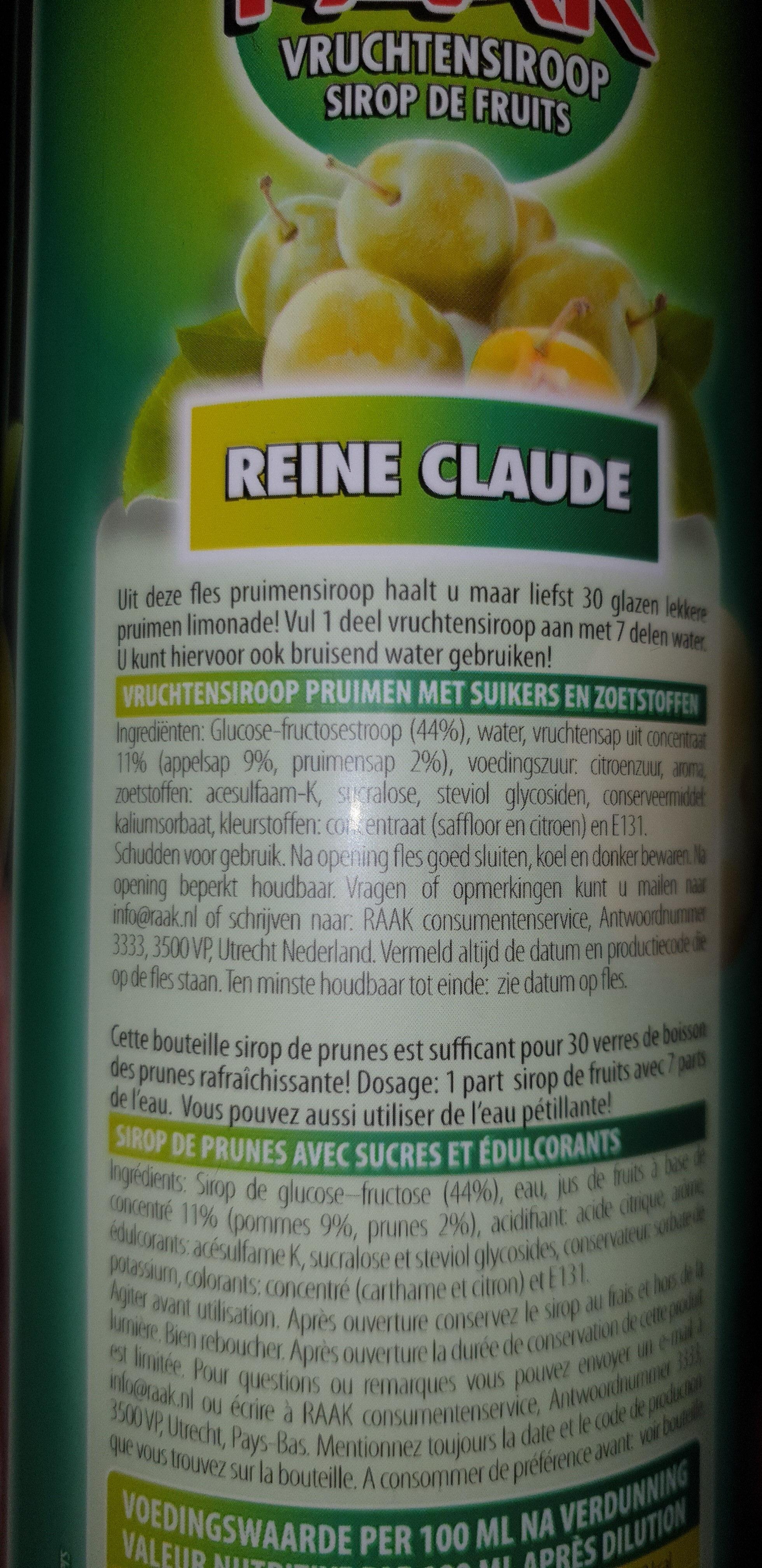 Raak Vruchtensiroop Reine Claude - Ingrediënten