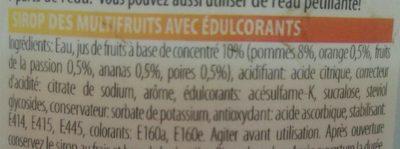 Sirop de fruit - Ingrediënten - fr