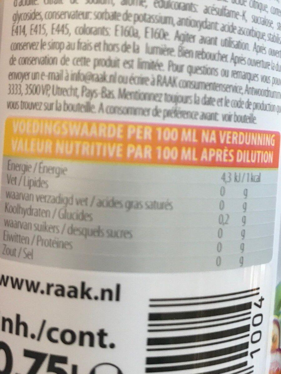 Sirop de fruit - Voedingswaarden - fr