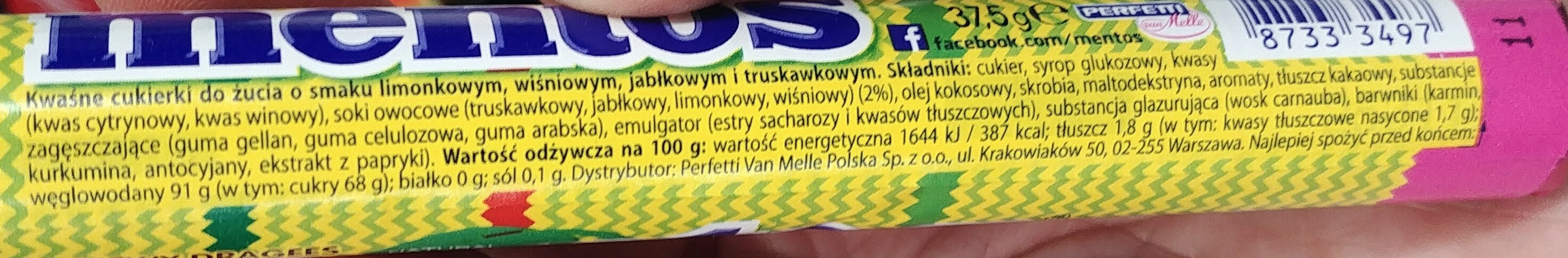 Kwaśne cukierki do żucia o smaku limonkowym, jabłkowym i truskawkowym - Informations nutritionnelles - pl