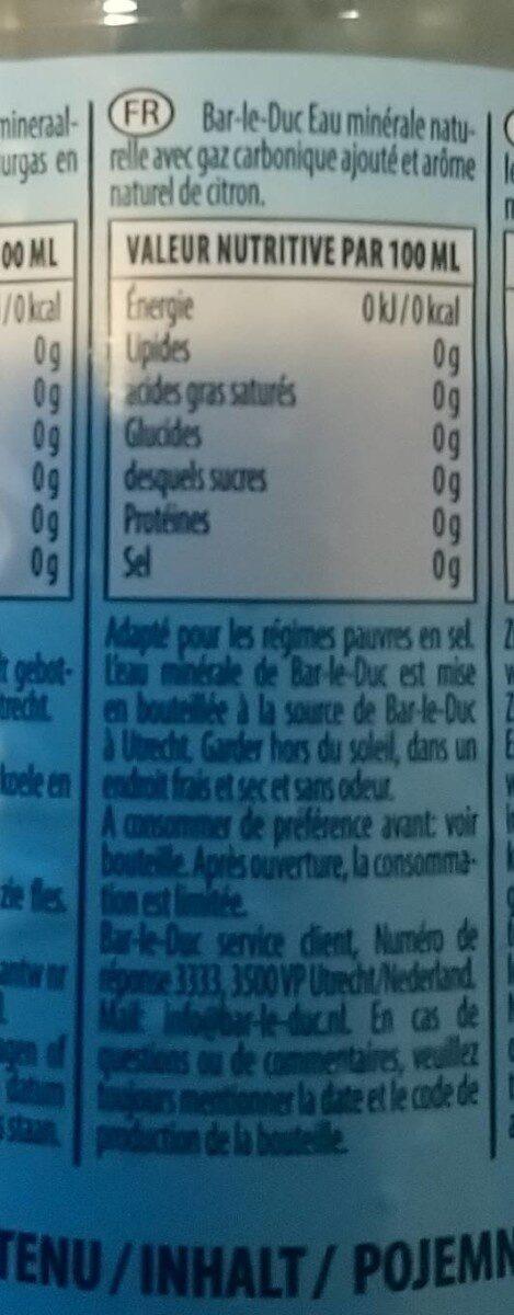 Eau gazeuse avec arôme naturel de citron - Informations nutritionnelles