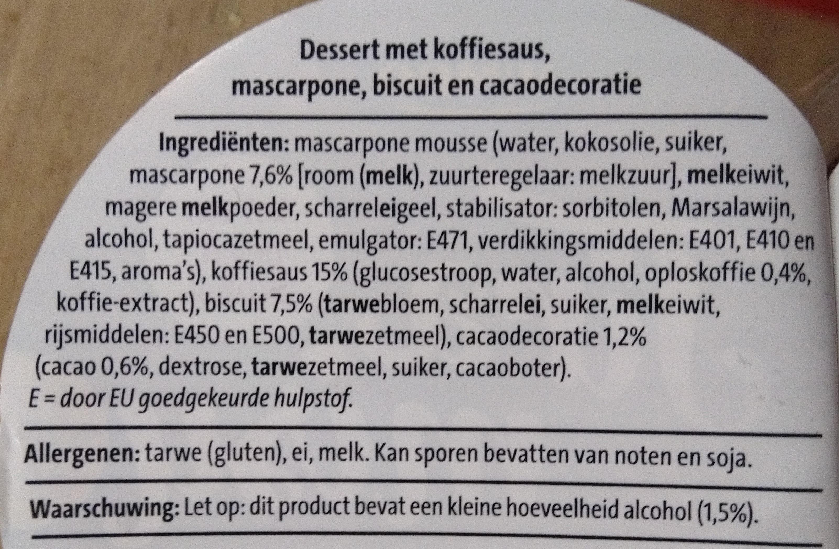 Tiramisu - Ingredients - nl