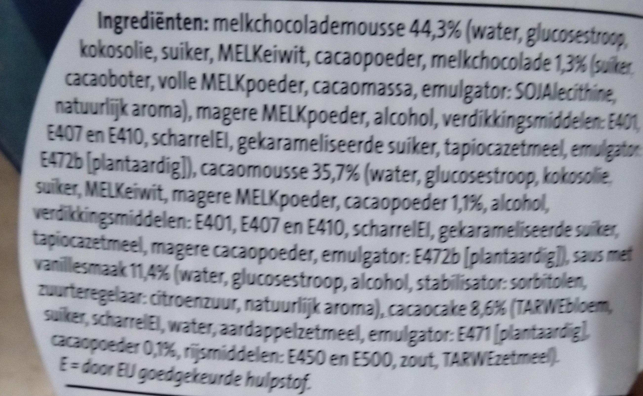 Triple choco mousse - Ingrediënten - nl