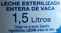 Leche entera esterilizada - Ingredients