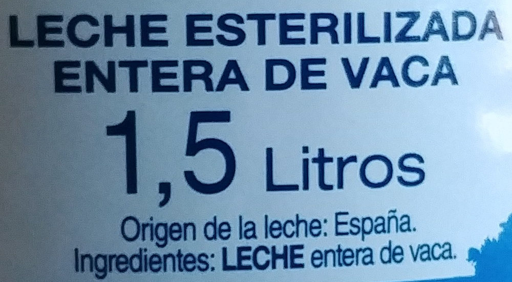 Leche entera esterilizada - Ingredients