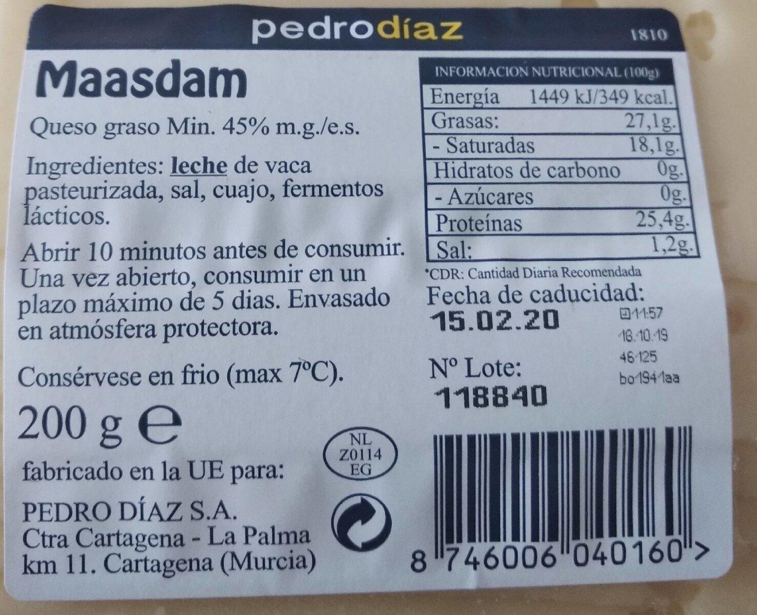 Queso natural Maasdam - Información nutricional