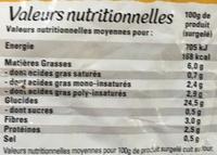 Just au Four Classique - Informations nutritionnelles