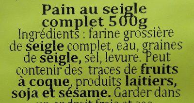 Pain au seigle complet - Ingrediënten
