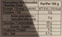 Pâte de piment rouge (500g) - Informations nutritionnelles