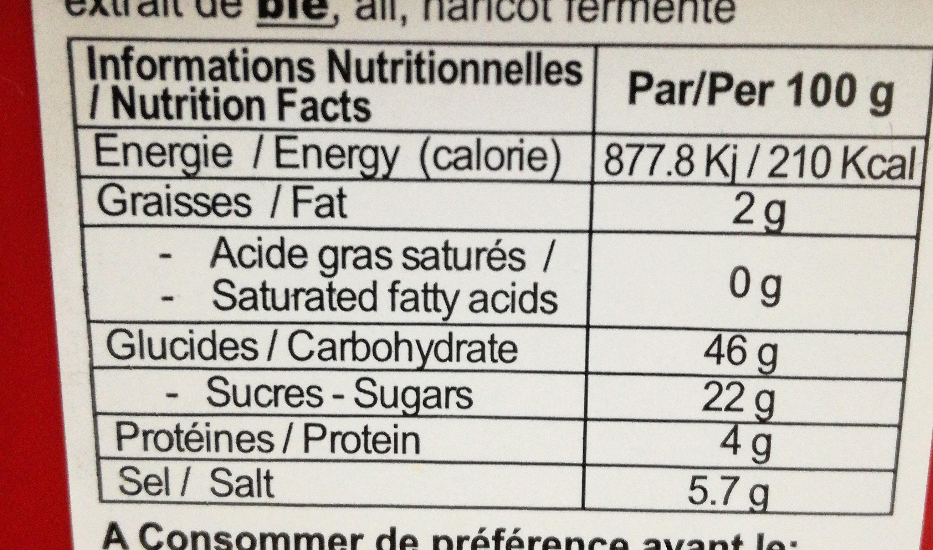 Gochujang - Informations nutritionnelles