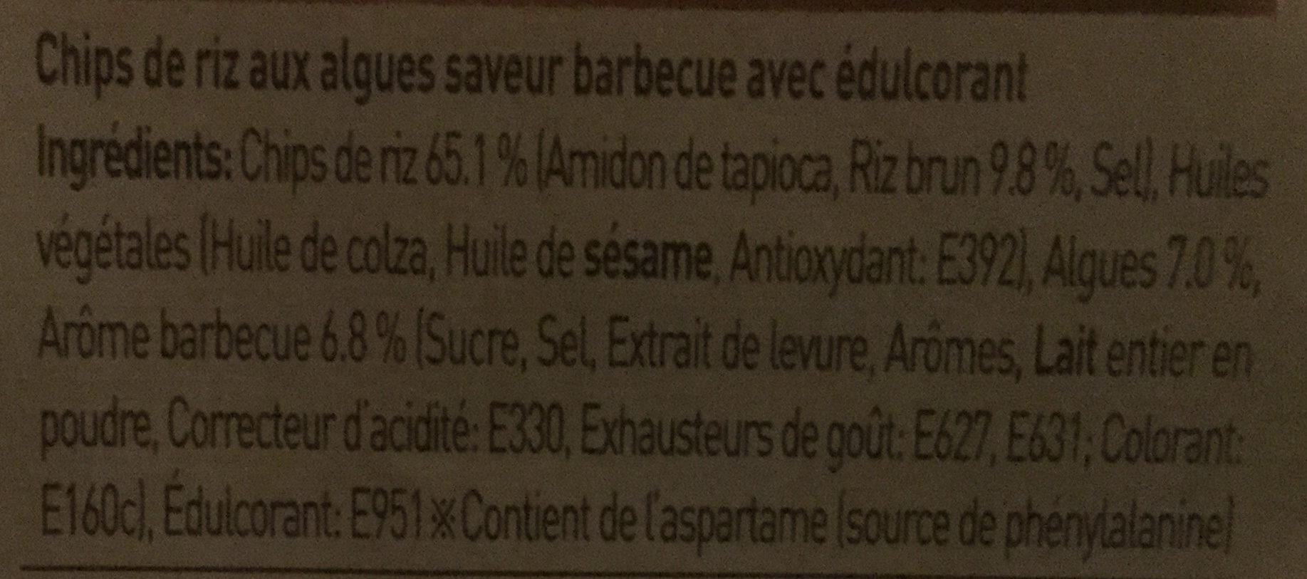 Chips d'Algues - saveur Barbecue - Ingrédients