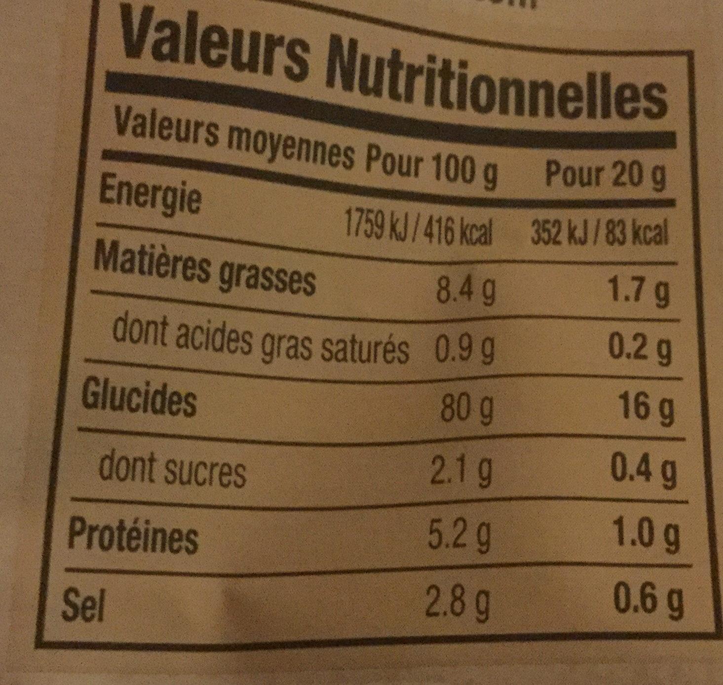 Chips d'Algues - saveur Barbecue - Informations nutritionnelles