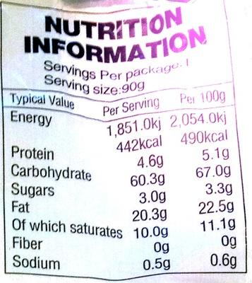 Beignets saveur oignon - Informations nutritionnelles