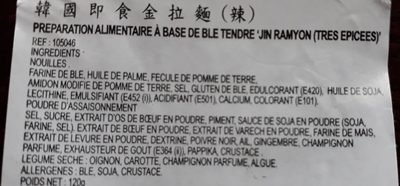 Ramen Coréen épicée - Ingredients - fr