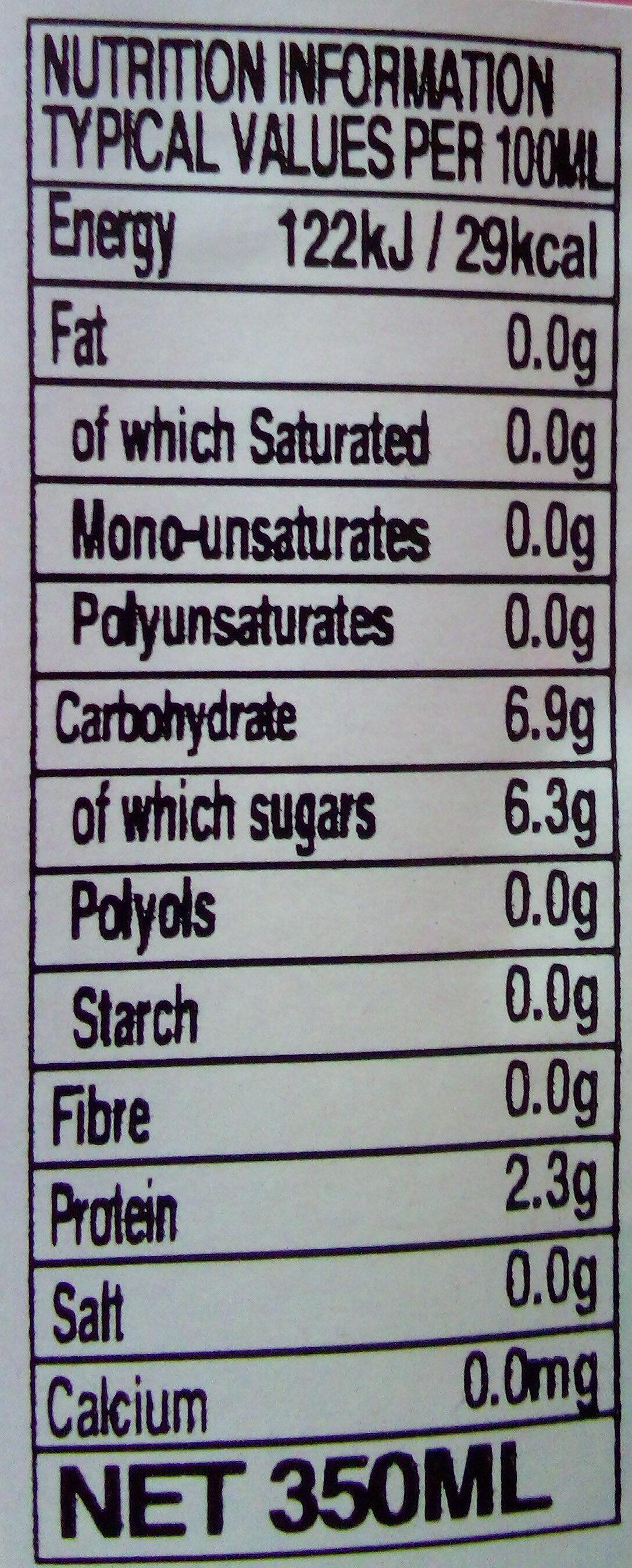 Boisson gazeuse pêche - Nutrition facts - fr