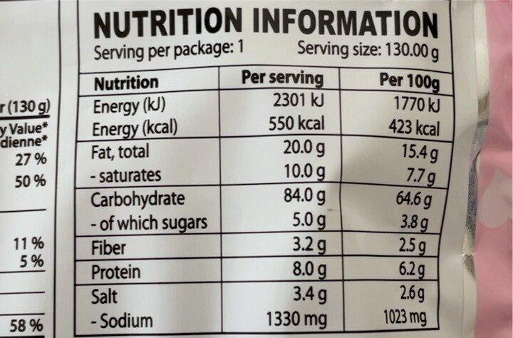 Carbo Hit Chicken Flavor Ramen - Valori nutrizionali - fr