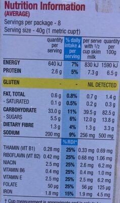 Special K - Nutrition facts - en