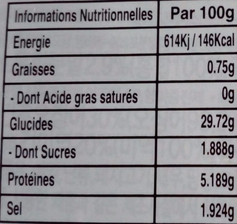 Soupe Udon Fruit De Mer 212G - Informations nutritionnelles - fr
