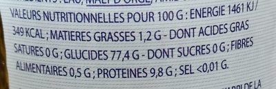 Ice Point - Informations nutritionnelles