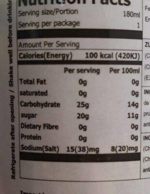 Woongjin Plum Drink - Informations nutritionnelles