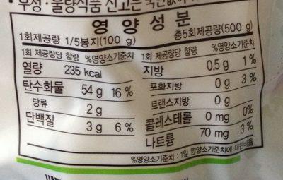 쌀떡 - Nutrition facts - ko
