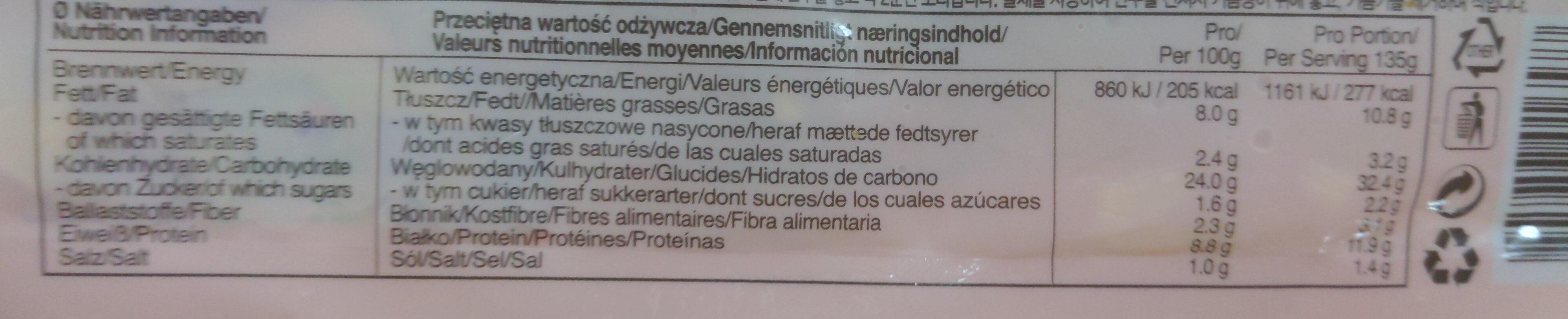 Teigtaschen gefüllt mit eingelegtem Chinakohl - Informations nutritionnelles - de