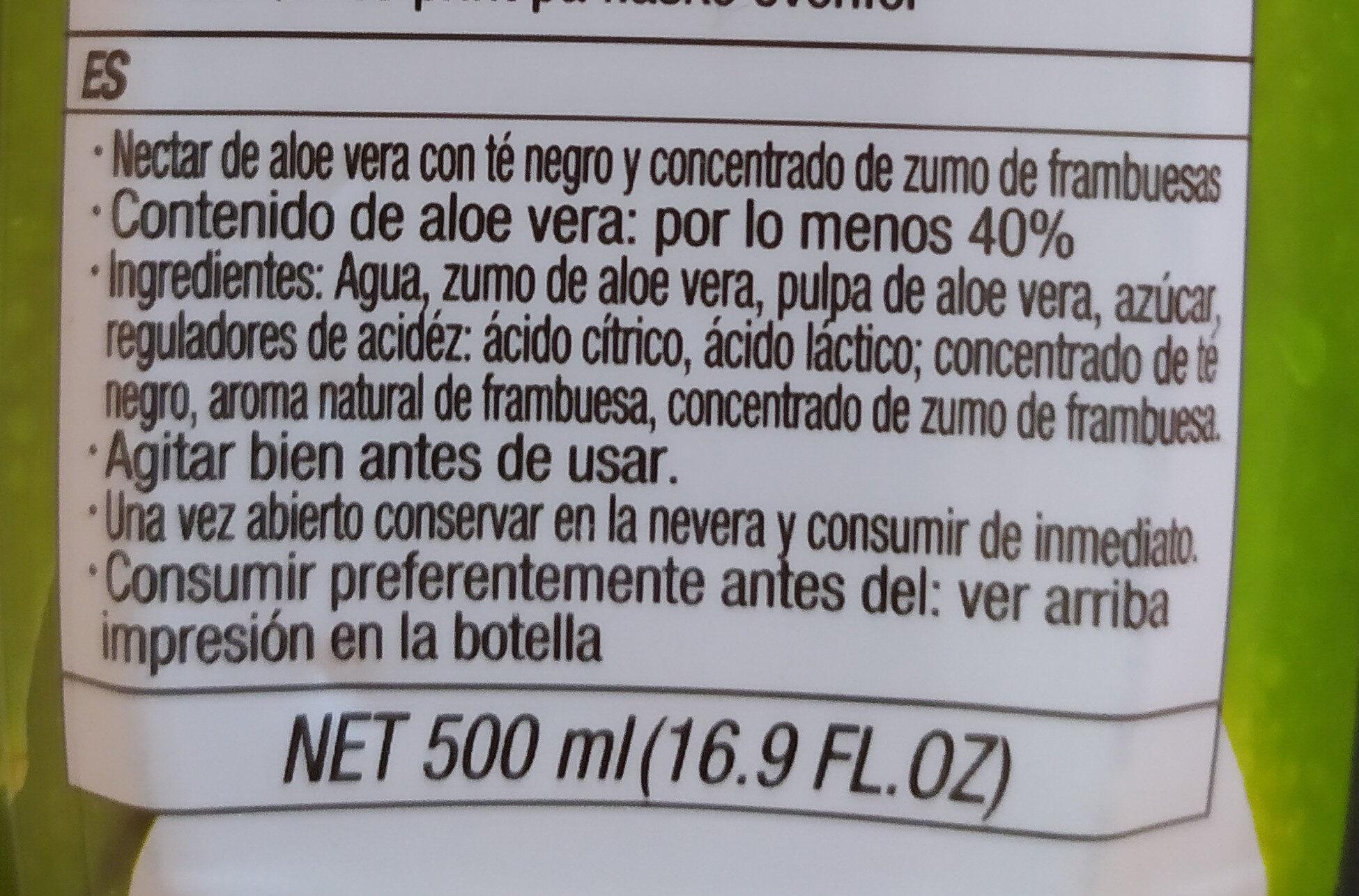 Nestar d'aloe vera gout framboise et thé noir - Ingredientes - es