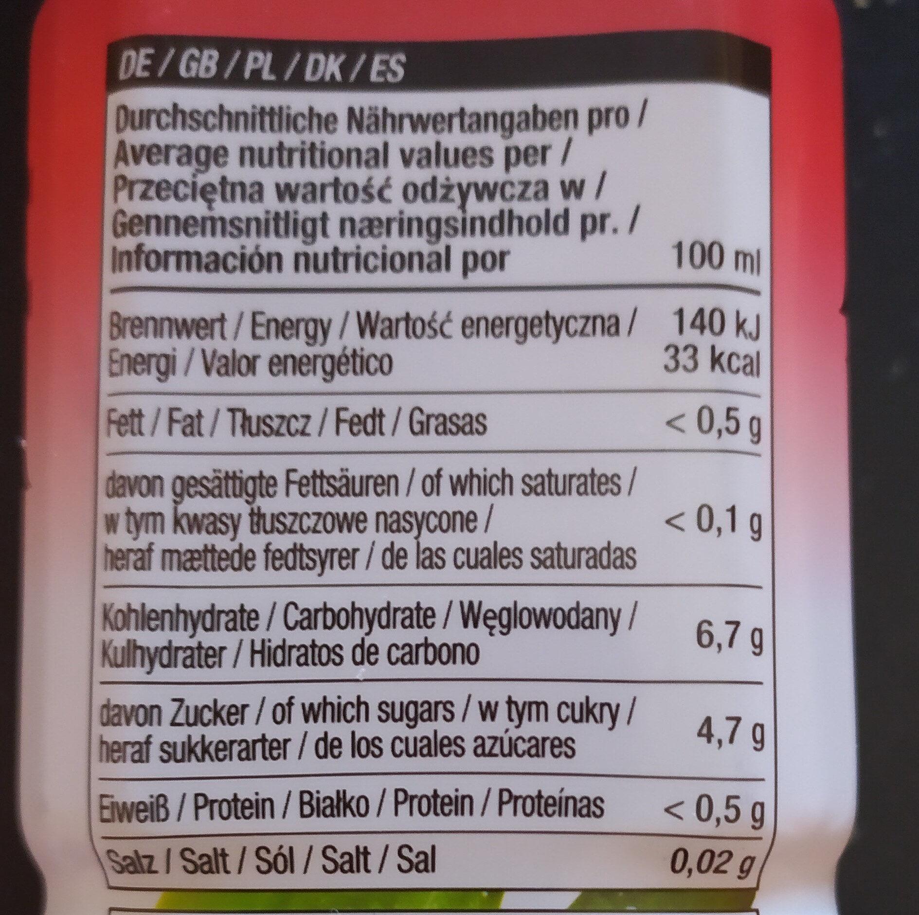Nestar d'aloe vera gout framboise et thé noir - Información nutricional - es