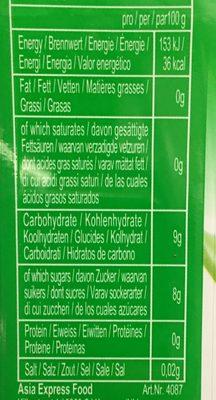 Aloe vera drink - Información nutricional
