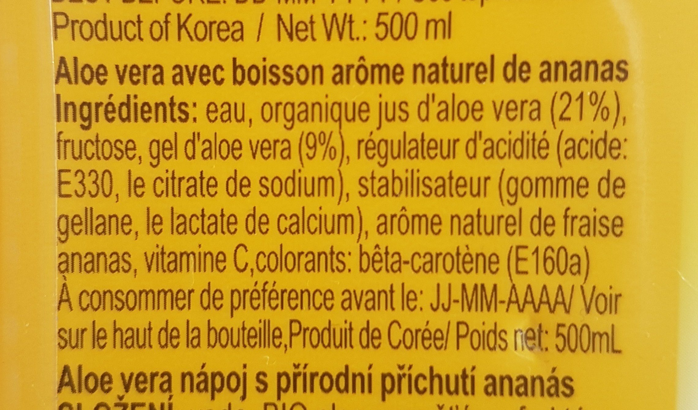 Okf Boisson Aloe Vera King Ananas - Ingrédients