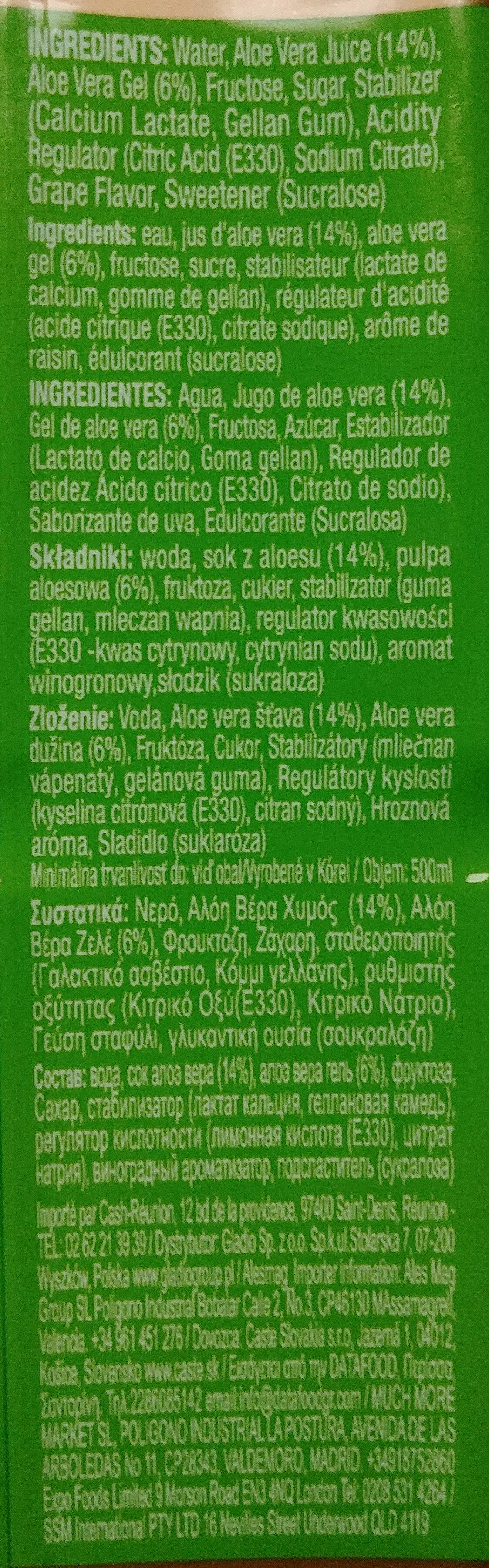 Napój Farmer's Aloe Vera - Składniki - pl