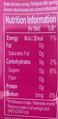 Farmer's aloe verra - Nutrition facts