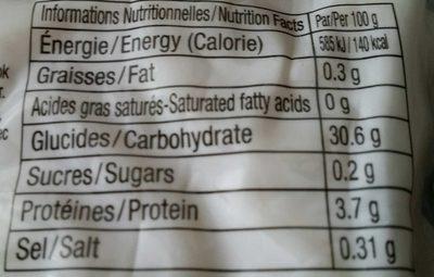 Nouilles Udon 200G - Informations nutritionnelles