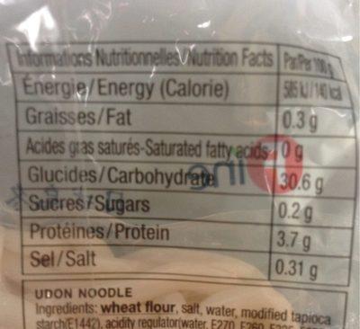 Nouilles Udon - Informations nutritionnelles